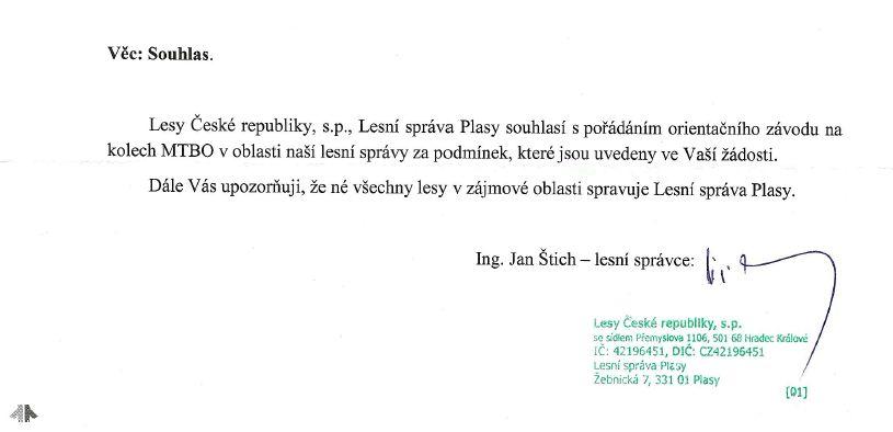Povolení od Lesů České republiky